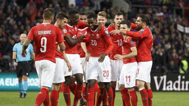 La joie des Suisses après le deuxième but. [Salvatore Di Nolfi - Keystone]