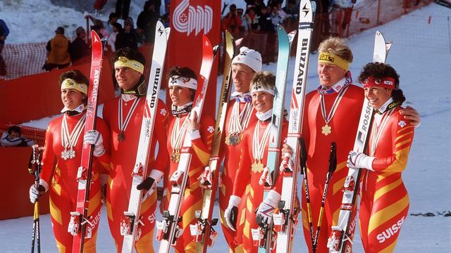 L'équipe de Suisse de ski alpin à Crans-Montana en 1987. [Thomas Studhalter - Keystone]