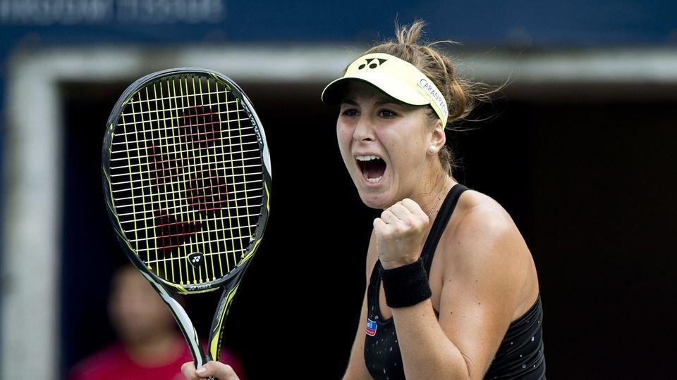 Toute la rage de Belinda Bencic, qui se retrouve en demi-finales à Moscou. Et toute proche de... Shenzhen. [KEYSTONE]