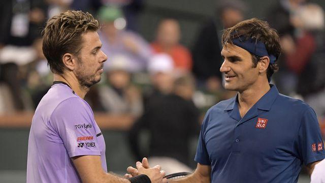 Stan Wawrinka contre Roger Federer: les deux hommes se sont déjà affrontés deux fois cette année (ici à Indian Wells, puis à Roland-Garros). Auront-ils droit à un 3e face-à-face à Bâle? [KEYSTONE]