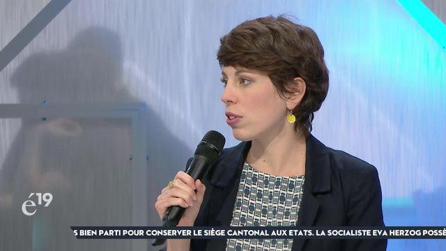 """Lisa Mazzone, vice-présidente des Verts, évoque une """"tendance solide"""" des questions écologiques pour expliquer la progression de son parti [RTS]"""