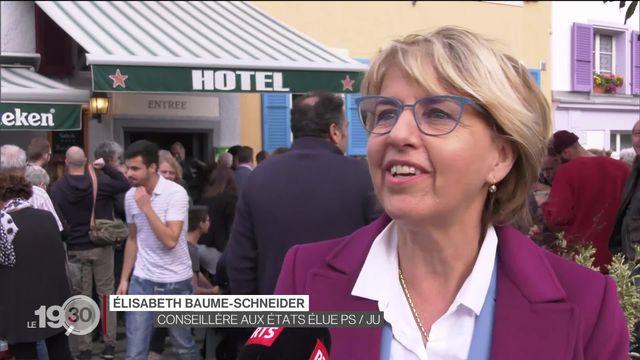 Dans le Jura, sans surprise, le PDC Charles Juillard et la socialiste Elisabeth Baume-Schneider sont élus au Conseil des États. [RTS]