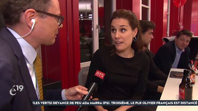 """Tanja Bauer, vice- présidente du PS Berne, déplore la perte de deux sièges, mais se refuse de blâmer les Verts: """"Dans le canton de Berne, aucune force politique ne travaille aussi bien avec. C'est juste dommage qu'on ait pas gardé nos sièges pour pousser ensemble à gauche."""" [RTS]"""