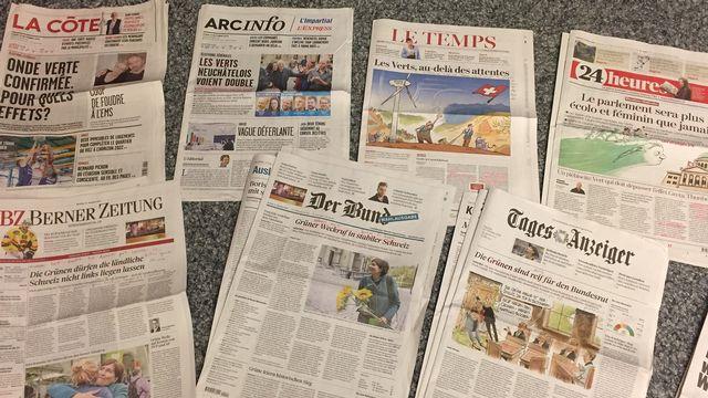 Les Unes de la presse au lendemain des élections.  [RTS]