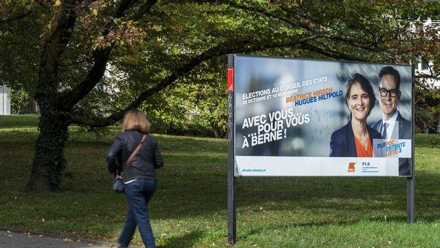 Le second tour de l'élection au Conseil des Etats s'annonce difficile pour le duo Béatrice Hirsch-Hugues Hiltpold à Genève. [Martial Trezzini - KEYSTONE]