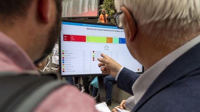 Des personnes suivent les résultats des élections fédérales, le 20 octobre à Uni Mail à Genève. [Martial Trezzini - Keystone]