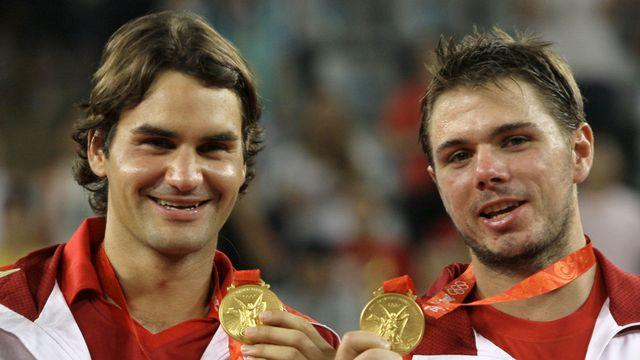 Federer et Wawrinka avaient conquis l'or olympique en double à Pékin, en 2008. [Elise Amendola - Keystone]