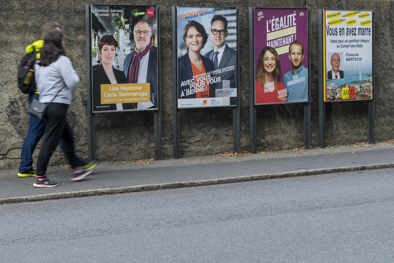 Posters for the 2019 Federal Elections in Geneva.