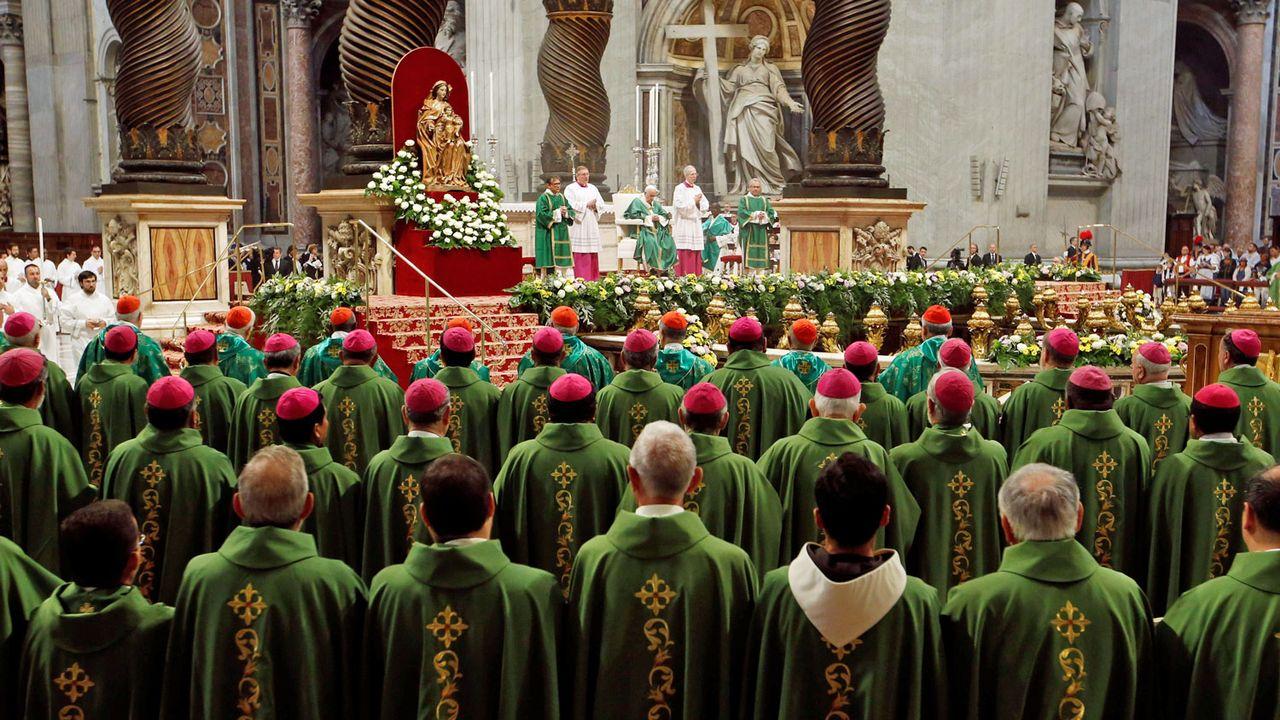 Le pape lors de la cérémonie de clôture du synode au Vatican, samedi 26.10.2019. [Remo Casilli - Reuters]