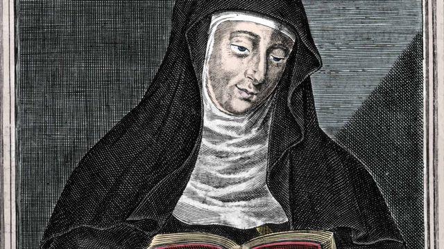 Représentation de Sainte Hildegarde (Hildegard) (1098-1179) de Bingen. Gravure du 19e siècle. [Costa/Leemage - AFP]