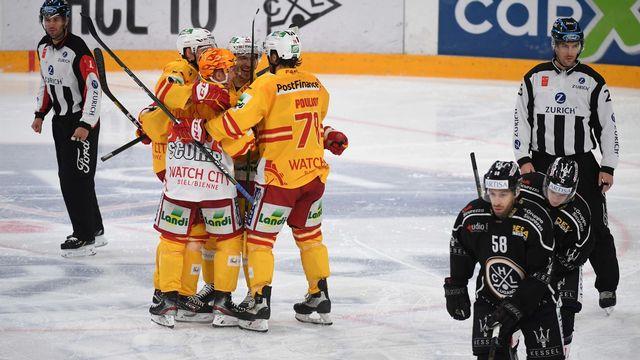 Le HC Bienne s'est bien repris après sa défaite la veille devant Ambri. [Davide Agosta - Keystone]