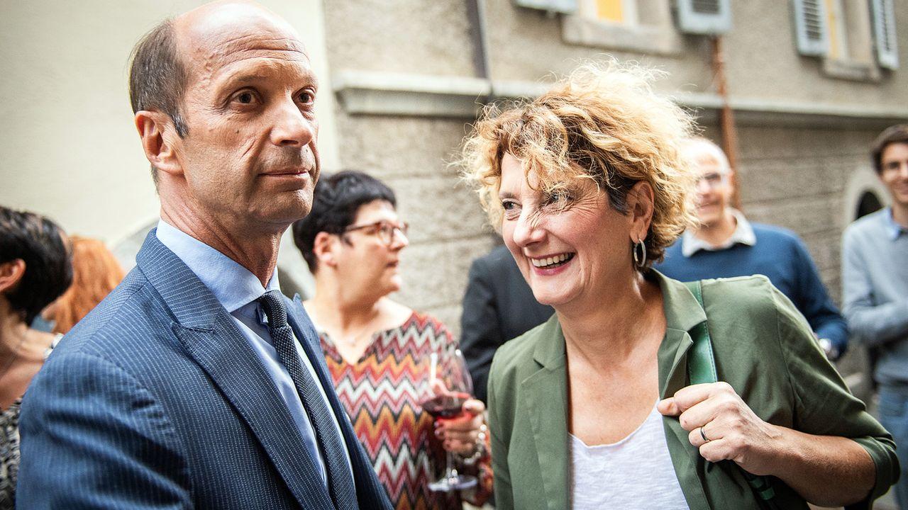 Les deux candidats PDC valaisans aux Etats, Beat Rieder et Marianne Maret. [Olivier Maire - Keystone]