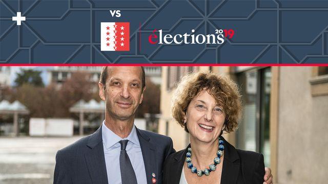 Beat Rieder et Marianne Maret après leur élection. [Olivier Maire - Keystone]