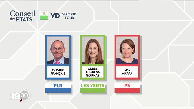 Dans le canton de Vaud, Olivier Français, Ada Marra et Adèle Thorens se disputent les 2 sièges du Conseil des Etats [RTS]