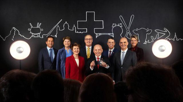 La photo officielle 2019 du Conseil fédéral. [Chancellerie fédérale suisse]