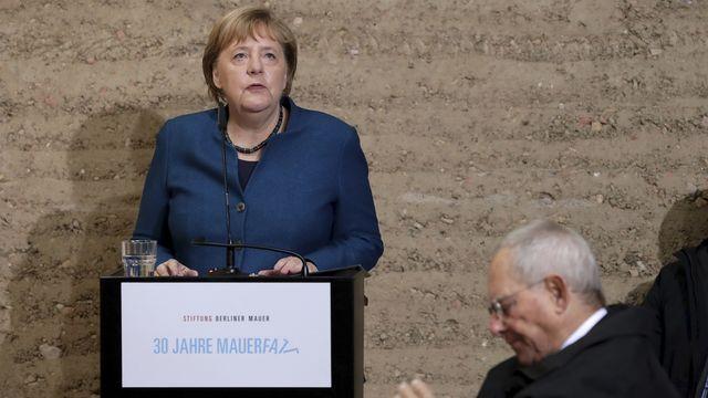 La chancelière allemande Angela Merkel lors des célébrations des 30 ans de la chute du Mur de Berlin. [Michael Sohn - Keystone/AP Photo]