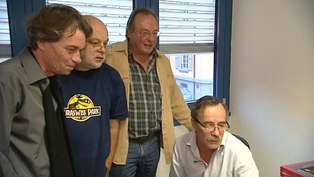 Roger Jaunin, Laurent Flutsch, Patrick Nordman, Barrigue, Les têtes pensantes du journal satirique Vigousse en 2009. [RTS]