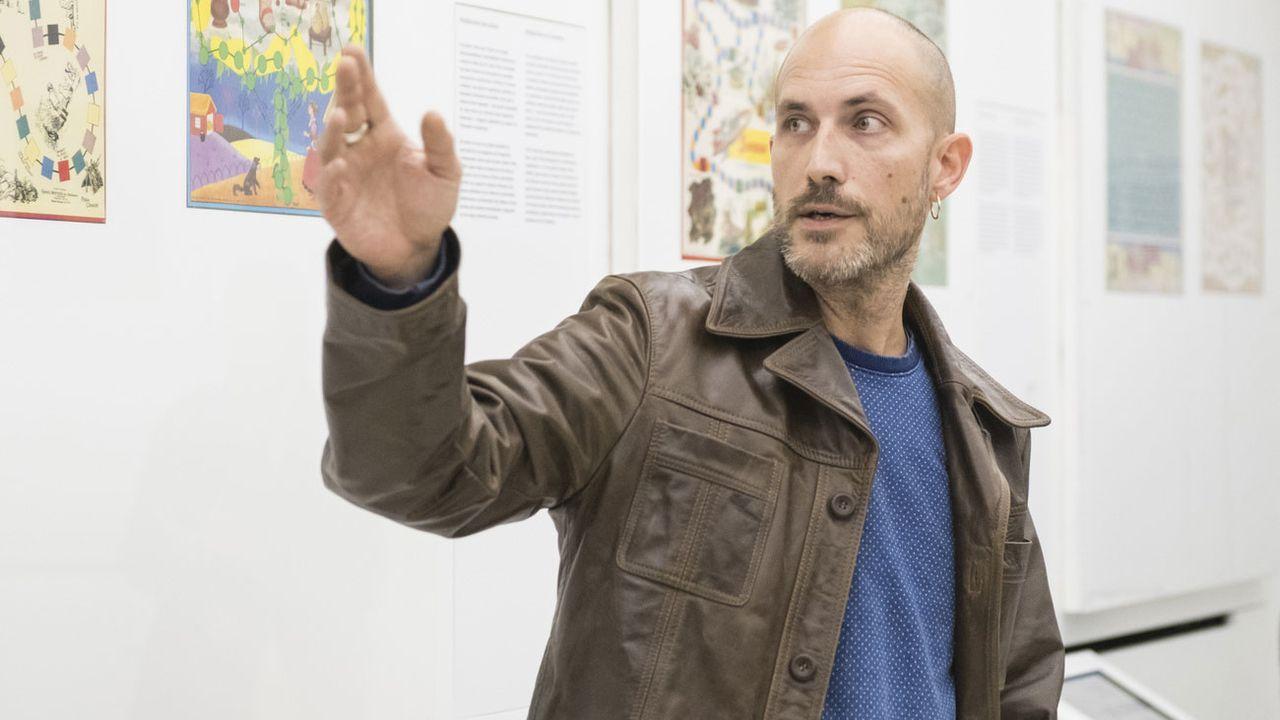 Frédéric Jaccaud, auteur de polars et conservateur de la Maison d'Ailleurs à Yverdon. [Adrien Perritaz - Keystone]
