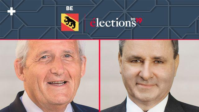 Les candidats au 2e tour des élections pour le Conseil des Etats à Berne, Hans Stöckli et Werner Salzmann. [Keystone]