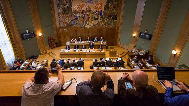 La salle du Grand Conseil valaisan en avril 2015. [Dominic Steinmann - Keystone]