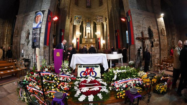 Les obsèques de Rymond Poulidor se sont déroulées mardi à St-Léonard de Noblat. [Mehdi Fedouach - AFP]