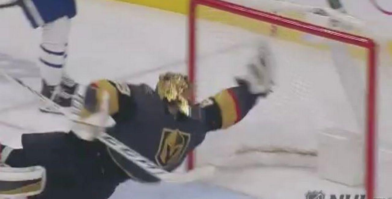 Le moment de l'incroyable arrêt de Fleury en capture d'écran (Twitter - @NHL)