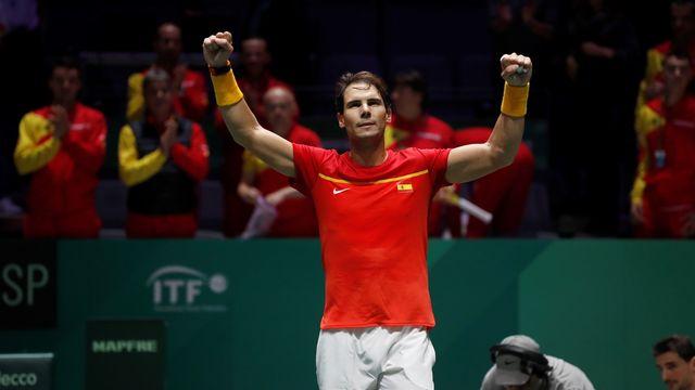 Nadal a remporté le second simple contre le Croate Borna Gojo. [Juanjo Martin - Keystone]