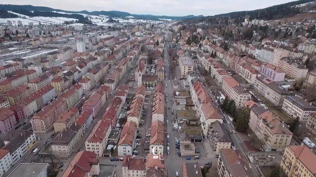 La ville de la Chaux-de-Fonds vue du ciel. [RTS]