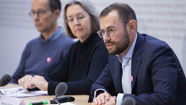 Matthias Erhardt, Anne Seydoux-Christe et Reto Rufer devant la presse à Berne, 28.11.2019. [Peter Klaunzer - Keystone]