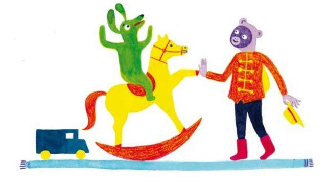 """Une illustration de Mirjana Farkas pour le conte """"Coco le singe aventureux"""" tiré du livre """"Marietta, l'ours et le cavalier"""" de Corinna Bille. [La Joie de Lire]"""