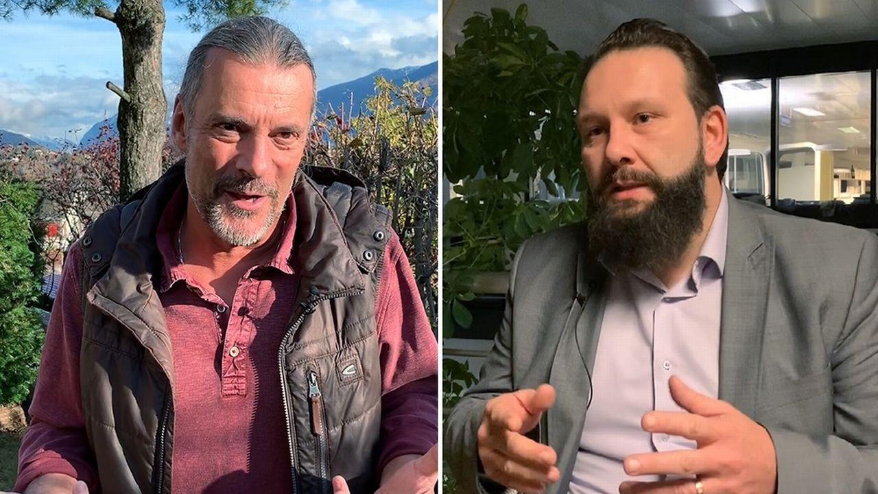 L'ancien conseiller national Oskar Freysinger (UDC/VS) et Pascal Gemperli, secrétaire général de l'Union vaudoise des associations musulmanes. [Mathieu Henderson - RTS]