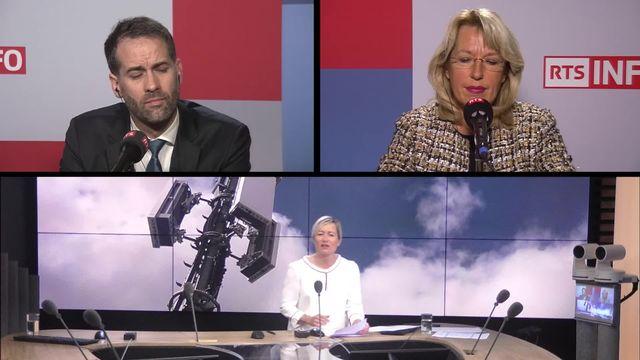 Rapport sur la 5G: interviews d'Antonio Hodgers et de Jacqueline de Quattro [RTS]
