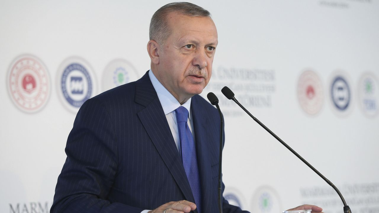 Recep Tayyip Erdogan en train de prononcer le discours au cours duquel il s'en est pris à Emmanuel Macron, ce 29 novembre 2019 à Istanbul.