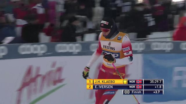 Poursuite 15km messieurs: Klaebo (NOR) l'emporte au bout du suspense [RTS]