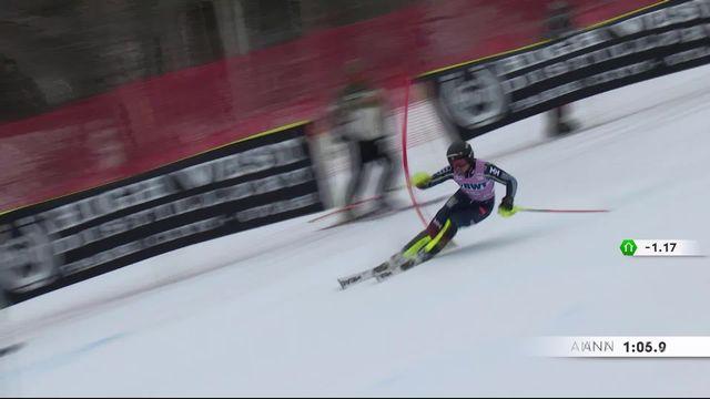 Killington (USA), slalom dames: Anna Swenn-Larsson (SWE) sur la dernière marche du podium [RTS]