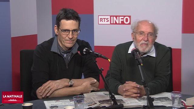 Didier Queloz (gauche) et Michel Mayor (droite) étaient les invités de La Matinale RTS, ce 2 décembre 2019. [RTS]
