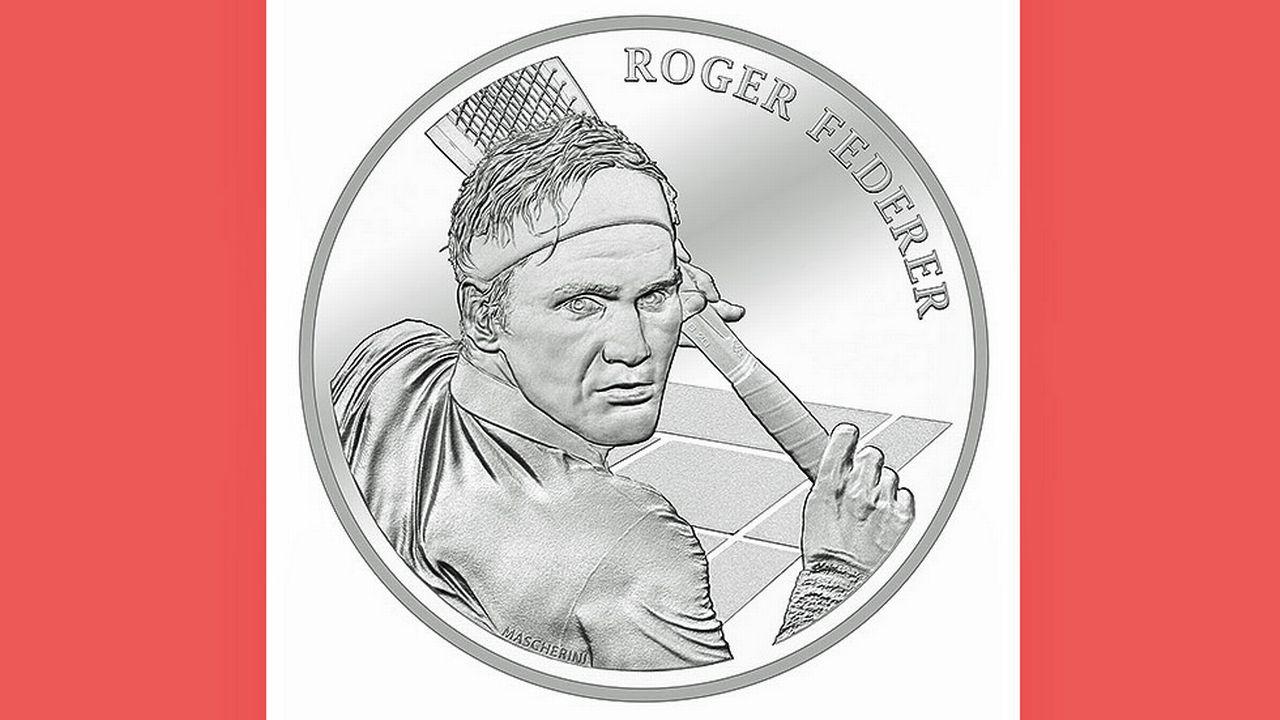 La pièce à l'effigie de Roger Federer. [Benjamin Zurbriggen - Swissmint]