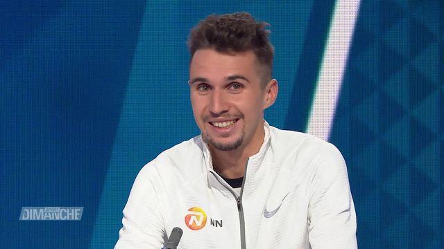Athlétisme: Julien Wanders le vainqueur de la course de l'escalade et son entraineur Marco Jaeger [RTS]