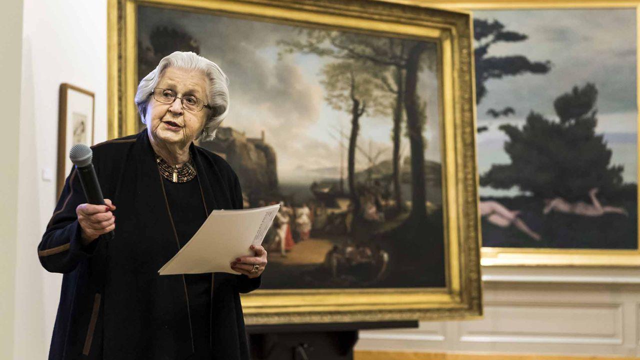 Alice Pauli, galeriste, parle lors d'une conference de presse sur des dons importants au MCBA, mardi 7 mars 2017. [Jean-Christophe Bott - Keystone]