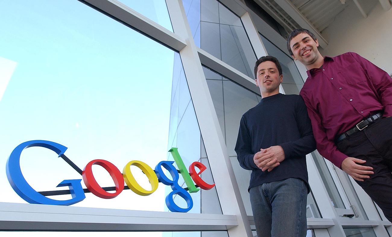 Les deux fondateurs de Google, Sergey Brin et Larry Page, en 2004.