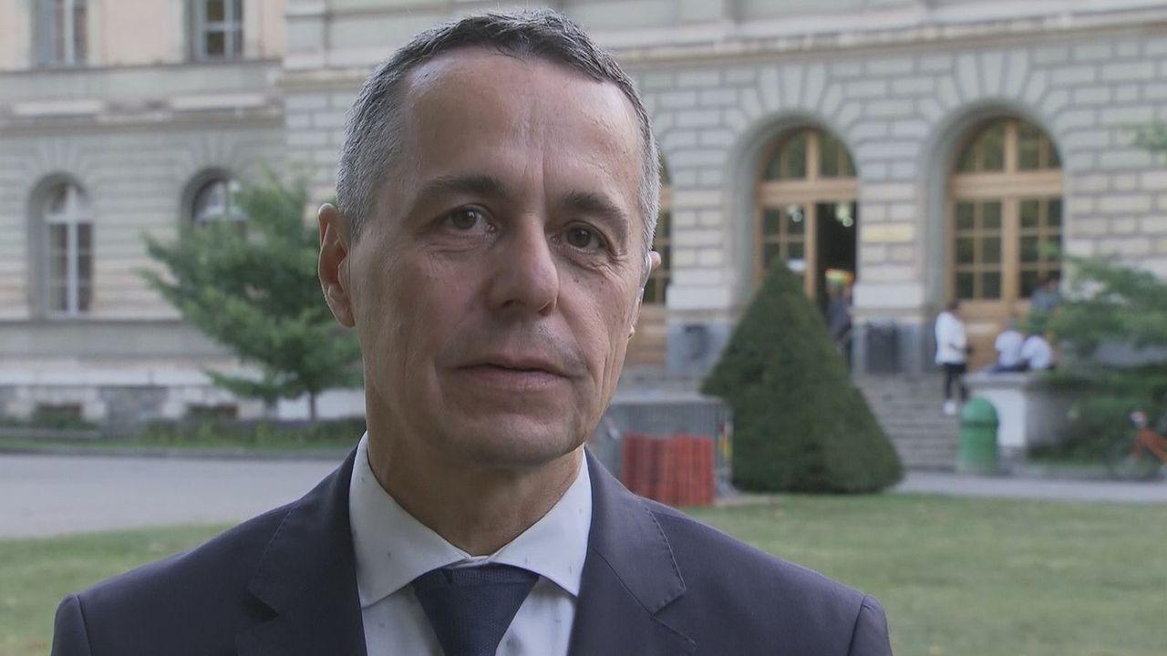 Le conseiller fédéral Ignazio Cassis, interviewé lundi soir dans le 19h30 de la RTS. [DR - RTS]