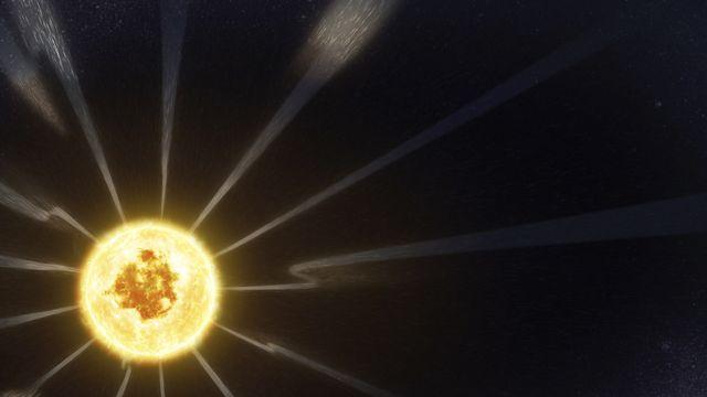 Une image provenant d'une vidéo de la Nasa ramenée par la sonde Parker montre les variations du champ magnétique du Soleil. [NASA/Goddard/CIL via AP - Keystone]