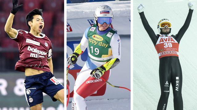 Le top-3 du week-end: le Servettien Jung-Bin Park, Corinne Suter et Killian Peier. [W.Bieri/J.McIntosh/S.Ilnitsky - Keystone]