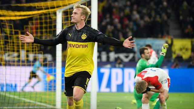 Julian Brandt célèbre son but face au Slavia. [Ina Fassbender - AFP]
