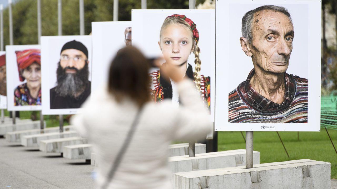 Exposition sur les droits humains en 2016 à Genève (image d'illustration). [Martial Trezzini - Keystone]