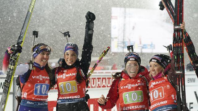 Biathlon: nouveau podium pour les relayeuses suisses