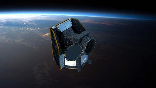 Une image de synthèse du satellite Cheops dans l'espace. [EUROPEAN SPACE AGENCY - Keystone]