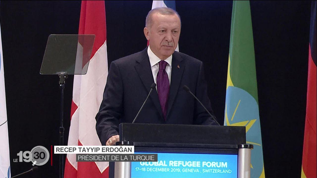 Le président turc Recep Tayyip Erdogan a ciblé le manque d'aide européenne lors du premier Forum mondial des réfugiés à Genève [RTS]