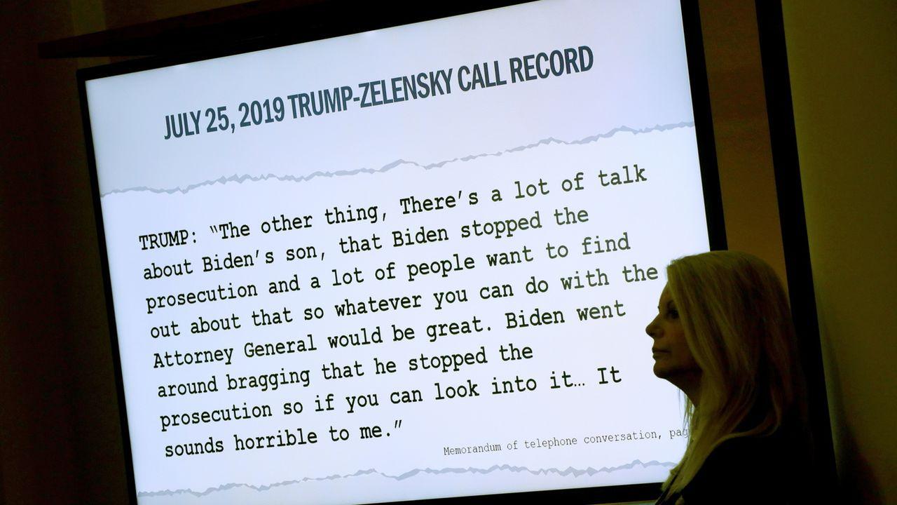 Une transcription du coup de fil entre Donald Trump et Volodymyr Zelensky, montrée lors d'une audience dans la procédure d'impeachment, ce 15 novembre 2019 à Washington. [Alex Wong - EPA]