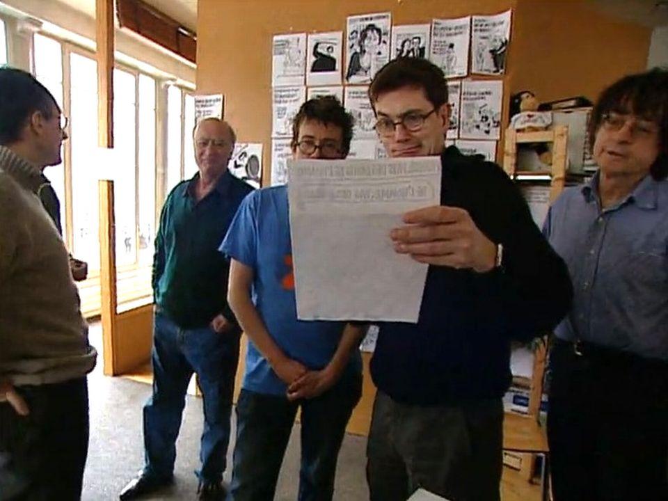 Wolinski, Luz, Tignous, Cabu dans la rédaction de Charlie Hebdo en 2005. [RTS]